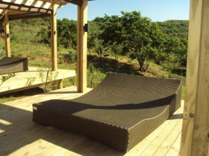 Designer all weather outdoor pool lounger.