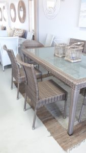 Single weaved dining chair in coffee cream.