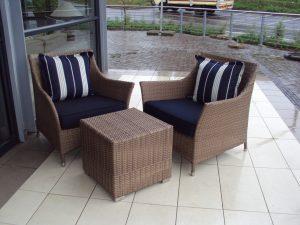 Double weaved Elita armchairs in coffee cream.