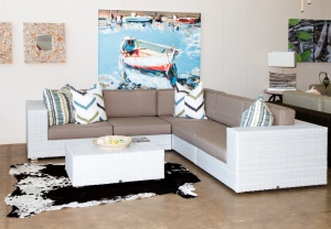 All weather outdoor white Bellavista set with brown cushions.