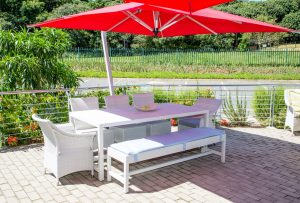 Outdoor patio Refrectory dining table and benches.