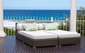 All weather outdoor aluminium framed day beds.