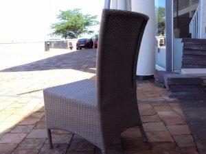 White designer dining chair.