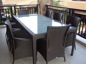 Malindi 6 - 8 seater dining table with toughened glass inlay