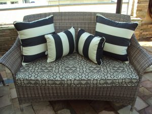 Single weave Makuti two seater sofa in coffee cream.