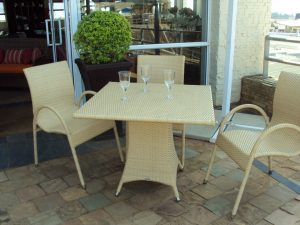 Fully weaved Ashanti four seater dining table.