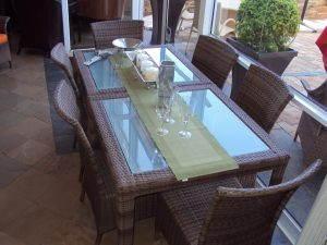 Malindi 4 seater dining tables with toughened glass inlay
