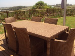 Fully weaved Malindi six seater dining table.