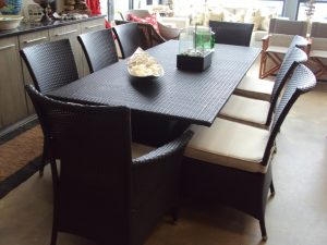 Fully weaved Ashanti 8 seater dining table.