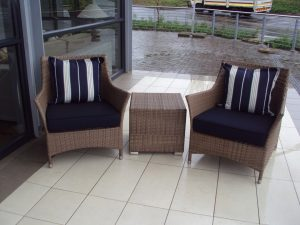 Double weaved Elita armchairs in coffee cream.