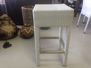 Designer white bar stool.