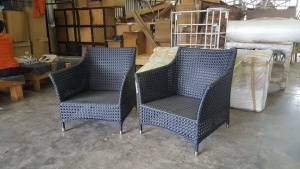 All weather outdoor armchairs.