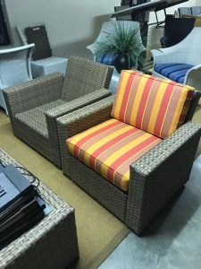 Double weaved Melissa armchairs in coffee cream.