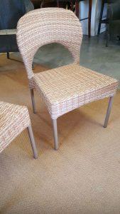 Double weaved Mediterranean chairs in honey wicker.
