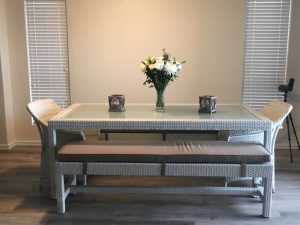 All weather outdoor Refrectory dining table and benches.