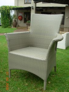 Single weaved Kariba armchair in coffee cream.