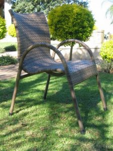 Single weave stackable chair in coffee cream.