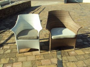 Two Makuti armchairs
